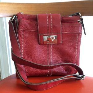 Tignanello Red Leather Crossbody Bag Organizer